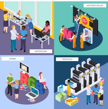 Advertising Agency Isometric Concept