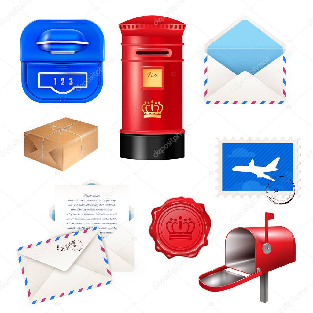 Realistic Post Mailbox Letter Set