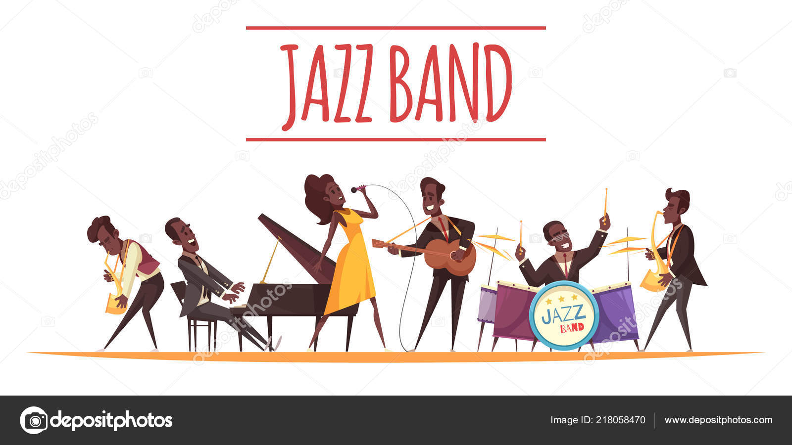 Jazz music cartoon set Royalty Free Vector Image