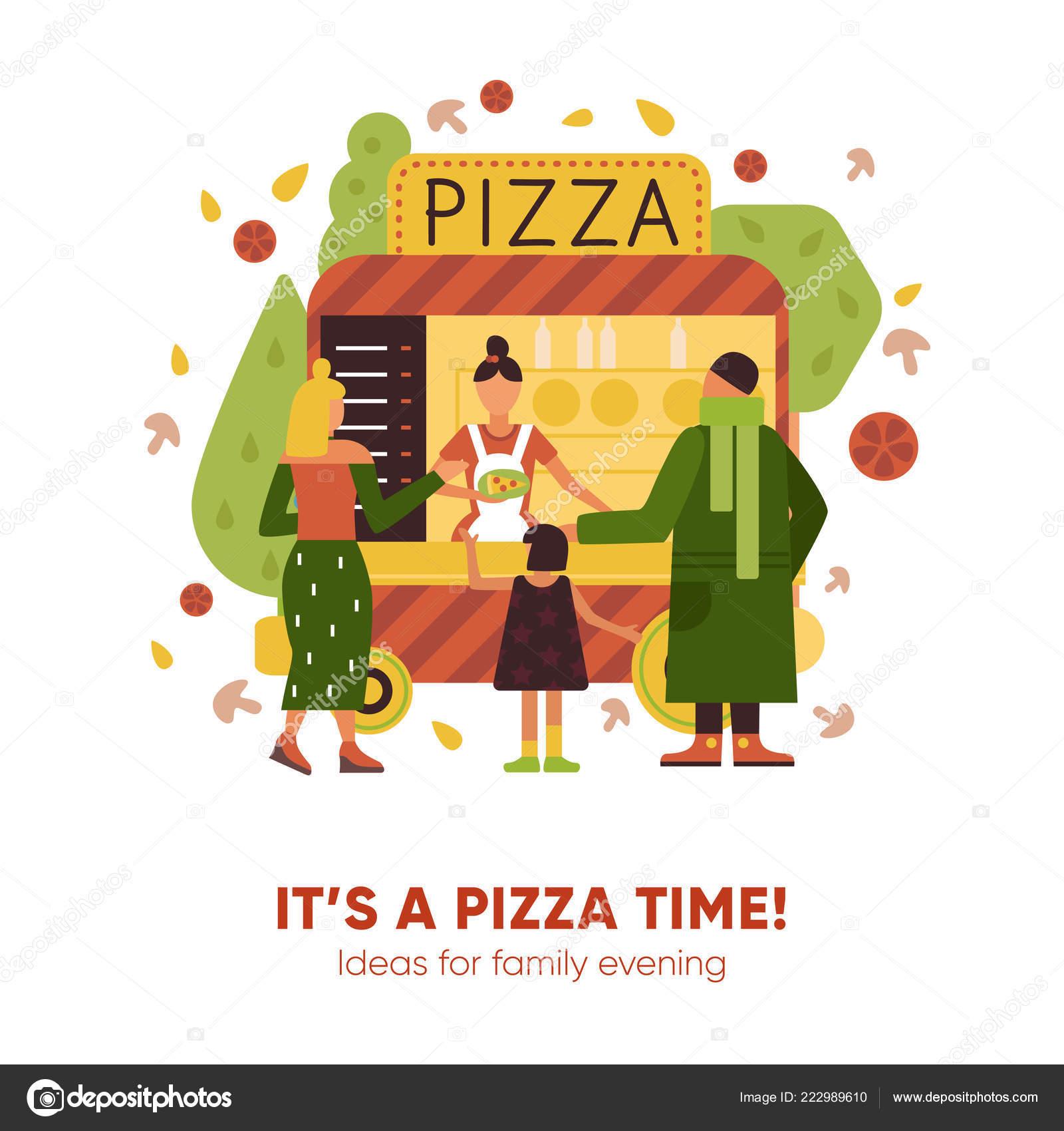 Pizza Time Illustration Stockvektor Macrovector 222989610