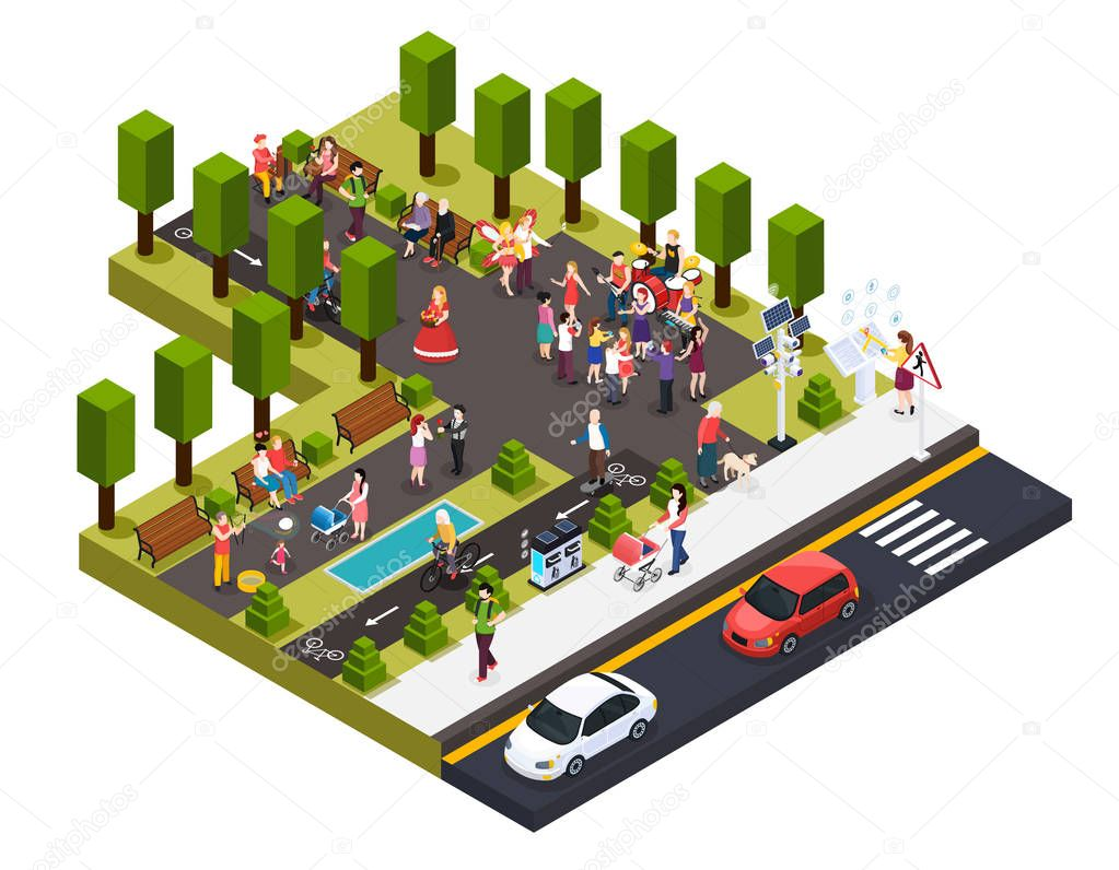Street Artists Park Isometric Composition