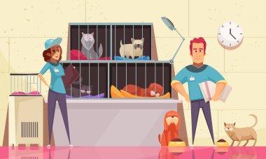 Animal Shelter Horizontal Illustration