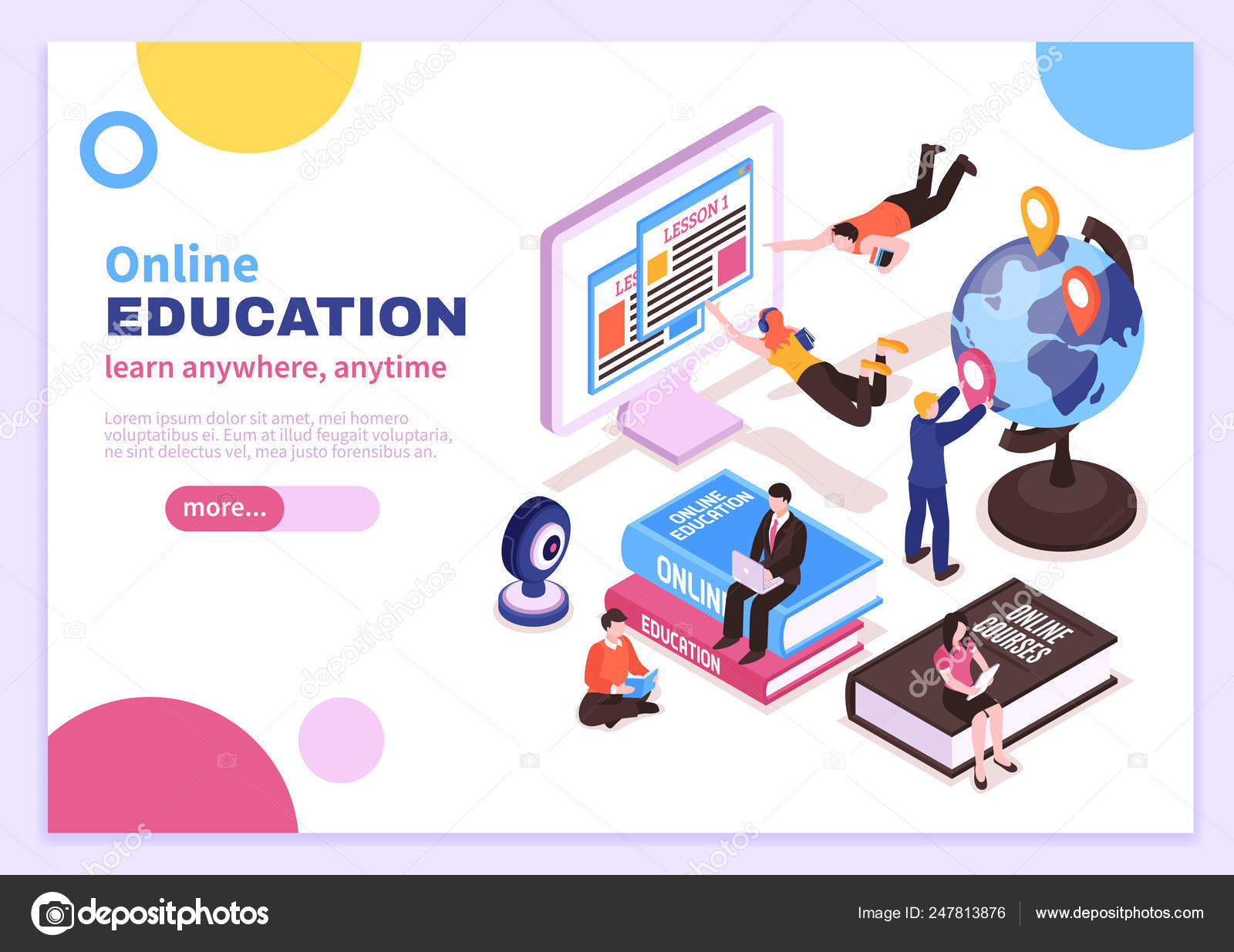 Online Education Isometric Poster Stock Vector Image by ...