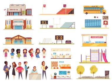 School Cartoon Icons Set
