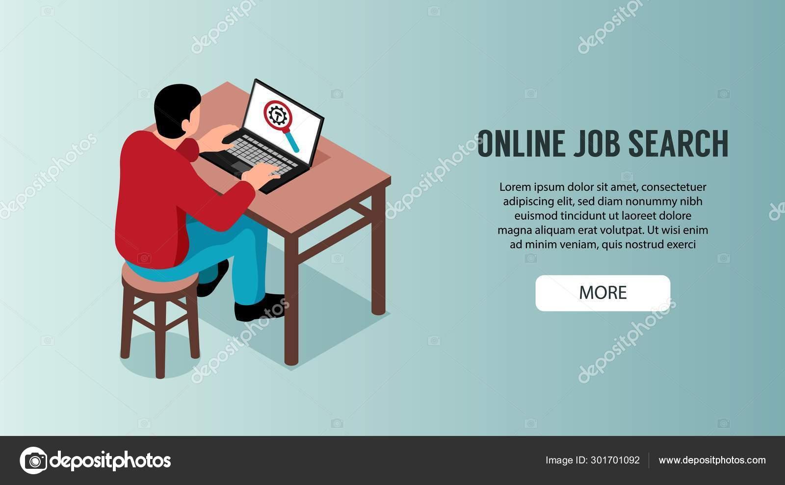 Online Job Search >> Online Job Search Horizontal Banner Stock Vector