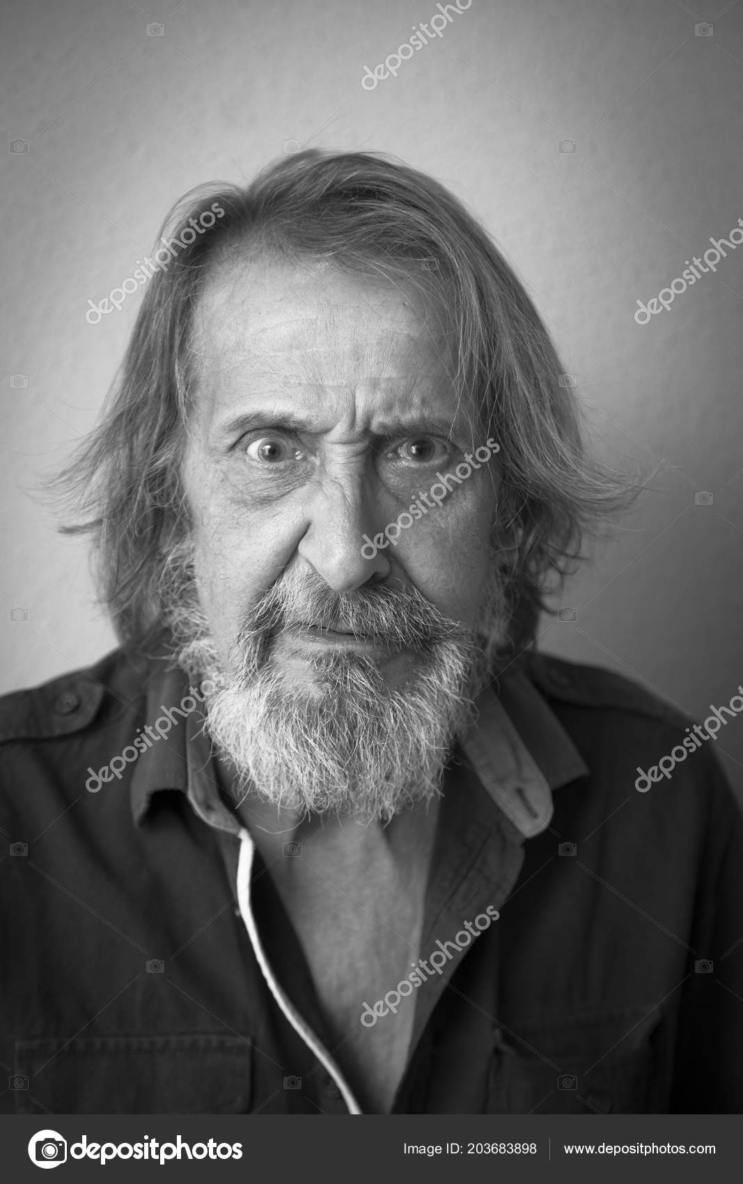 Black white portrait old man long hair beard stock photo