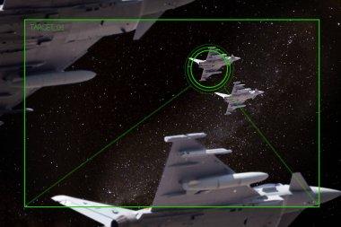 Düşman sivri sinden bir silahla formasyon halinde uçan savaş uçakları