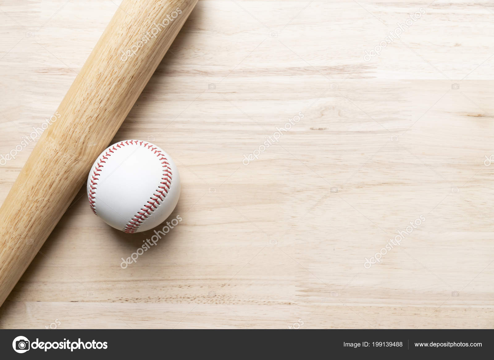 Baseball Kij Baseballowy Tle Drewniany Stol Zblizenie Zdjecie