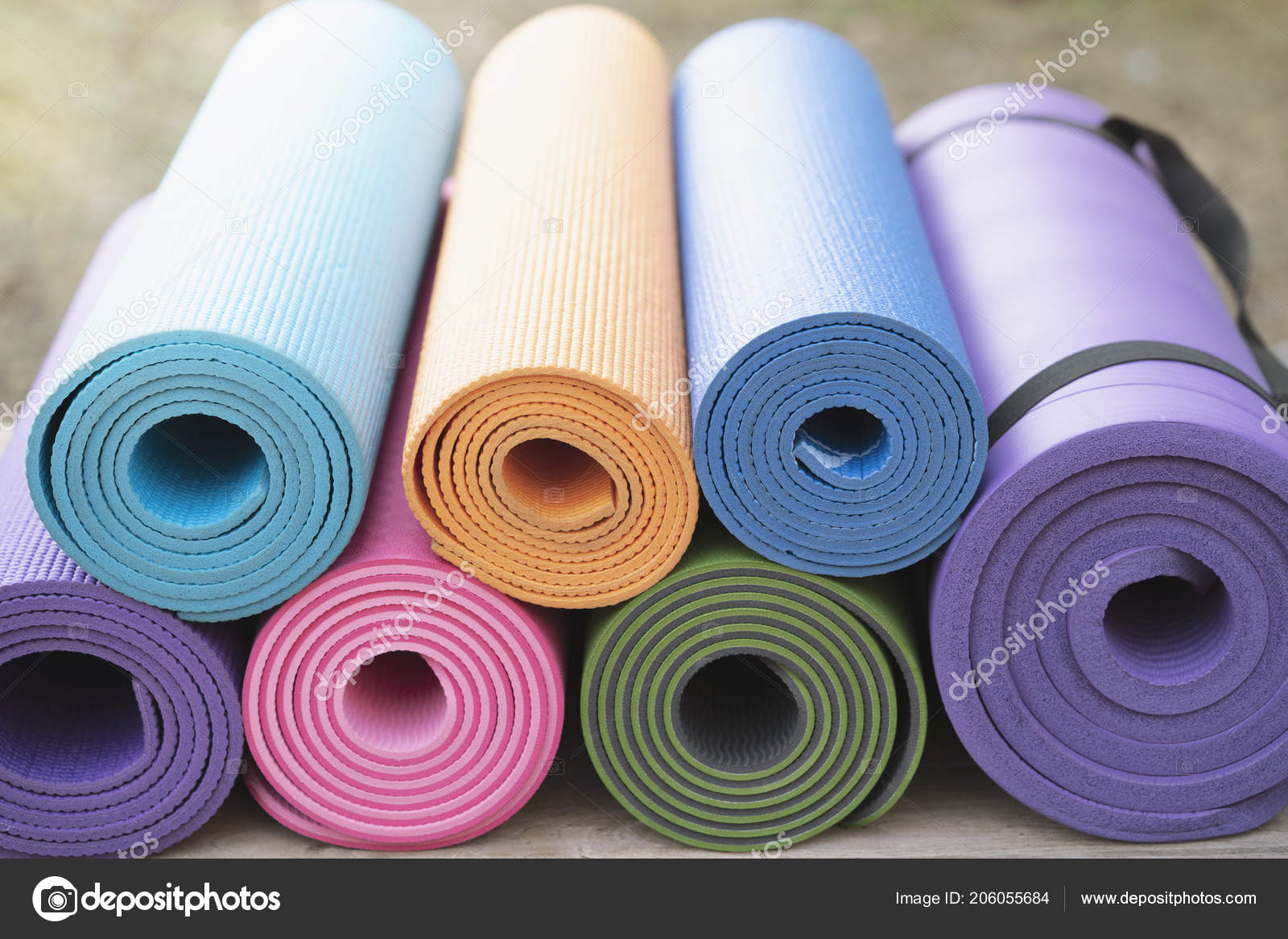 superior quality cheapest save up to 80% Close Colorful Yoga Mat Table Sport Healthy Concept — Stock ...
