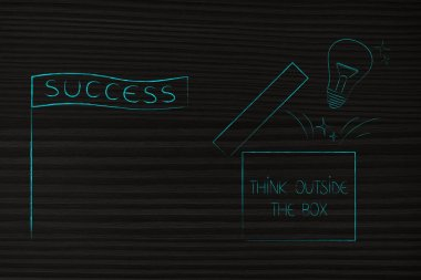 think outside the box conceptual illustration: success banner next to open box with lightbulb popping out