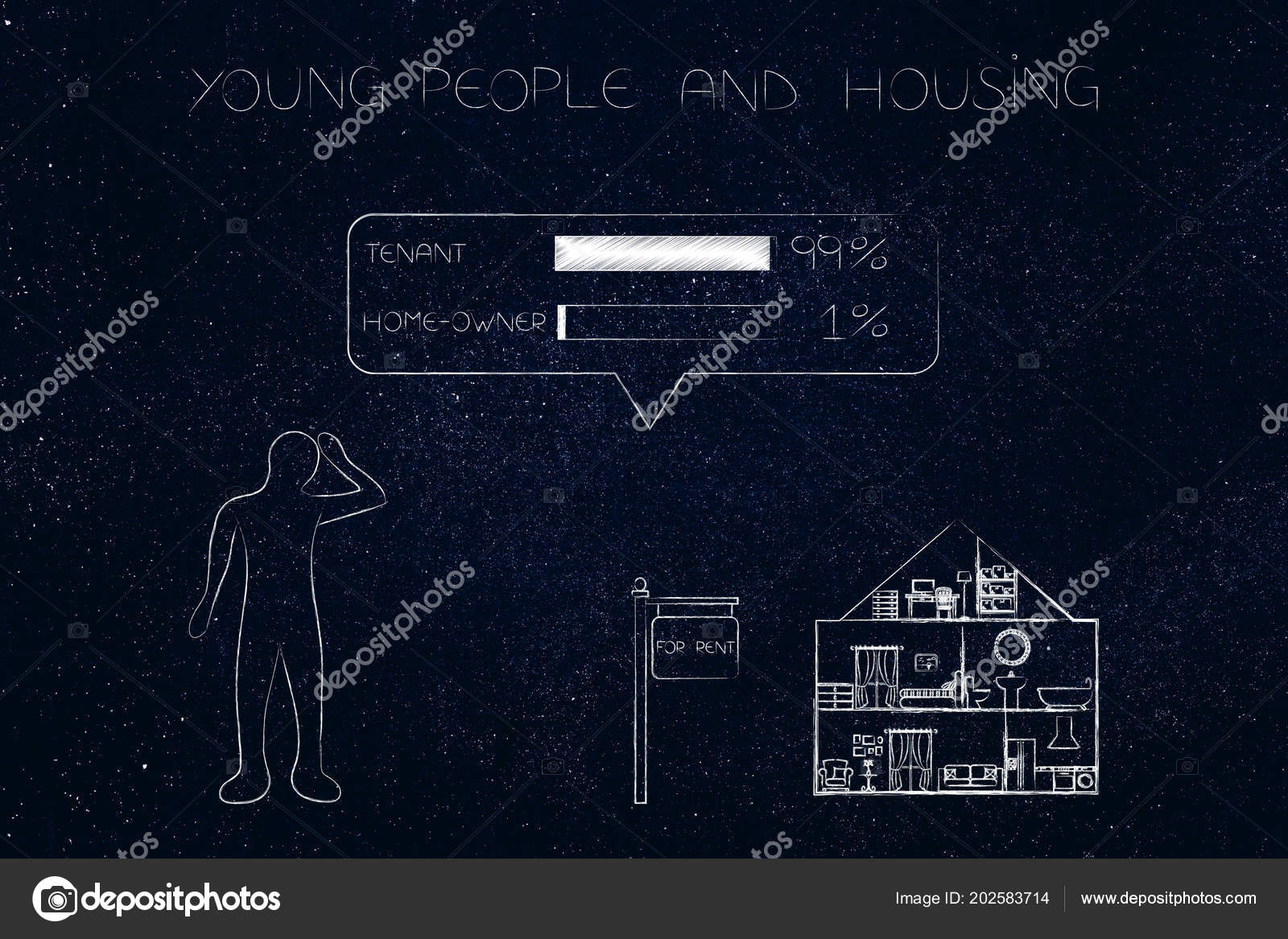 young people housing conceptual illustration doubtful person house rent distance stock photo