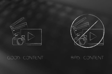 segmentation and marketing conceptual illustration: good vs bad social media content with barred icon  next to another better one