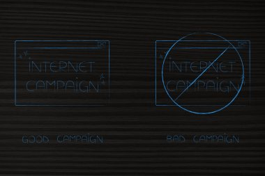 segmentation and marketing conceptual illustration: good vs bad internet campaign with barred pop-up message next to another better one