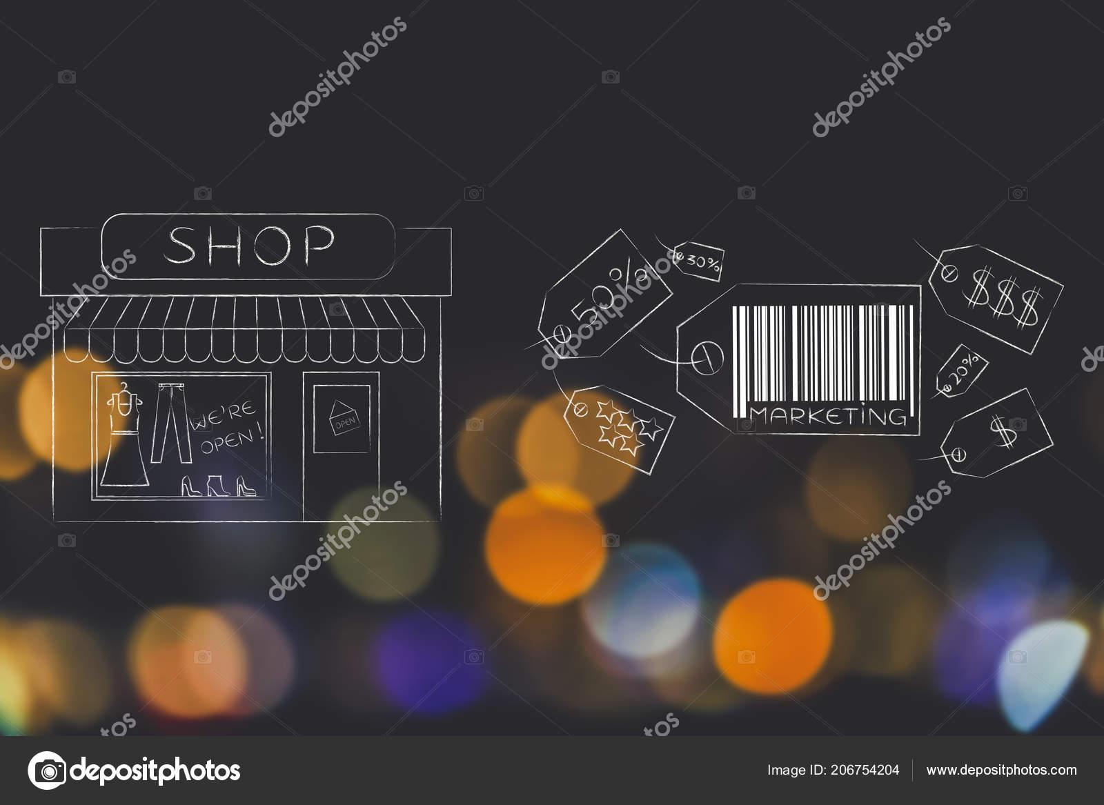 a9c3c3ba2 Comunicação empresarial e persuadir ilustração conceitual de clientes   grupo de etiquetas de preço com legenda de Marketing ao lado de vitrine de  loja ...