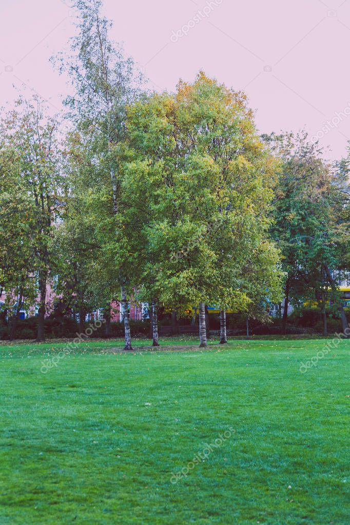 DUBLIN, IRELAND - October 6th, 2018: view of Merrion Square park in Dublin city centre in early Autumn