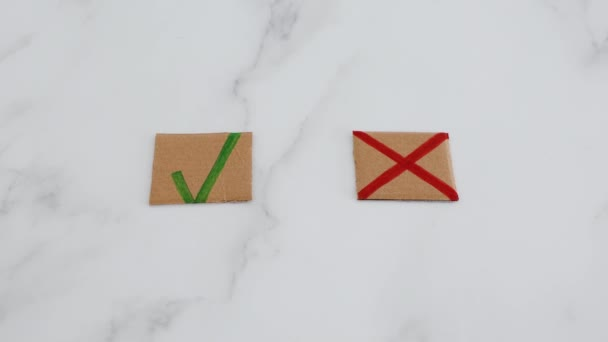 decision taking concept, hand with cursor icon in front of multiple choice green tick and cross signs selecting the No option