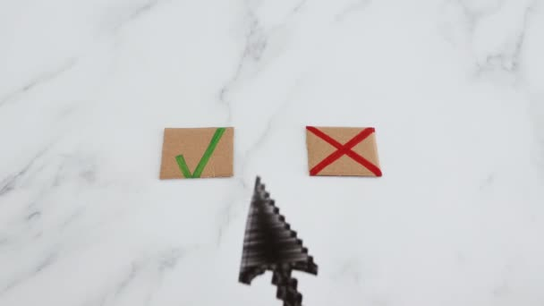 decision taking concept, hand with cursor icon in front of multiple choice green tick and cross signs hesitating btween the two