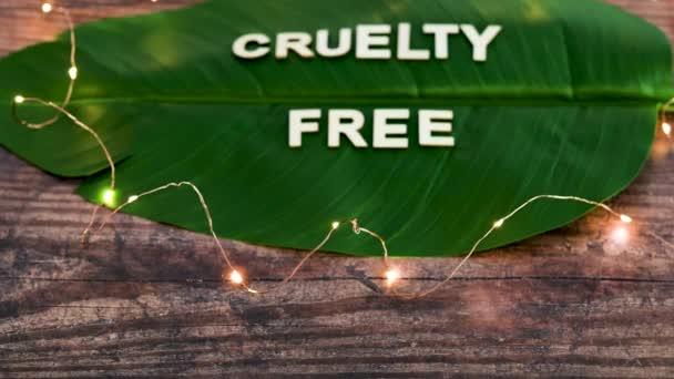 Veganismus und Ökologie konzeptionelles Stillleben, Cruelty Free Text mit Holzbuchstaben auf tropischem Bananenblatt, Kameraschwenk vertikal