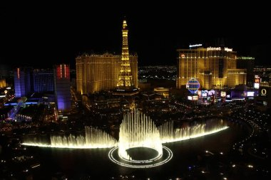 Las Vegas,NV/USA - Oct 28,2015: Fountains of Bellagio in Las Vegas. Fountains of Bellagio, which have featured in several movies, is a large dancing water fountain synchronized to music.