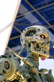 OSAKA, JAPAN - Mar 21, 2016 : Photo of the T-800 End skeleton from the Terminator 3D,one of the most famous attraction at Universal Studios JAPAN, Osaka, Japan.