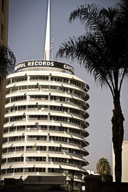Los Angeles, CA/USA - Nov 08, 2013 : The iconic Capital Records Building in Hollywood,  The Capitol Records building is a landmark of Hollywood and was built in 1955 - 1956 and was designed to look like a stack of records.