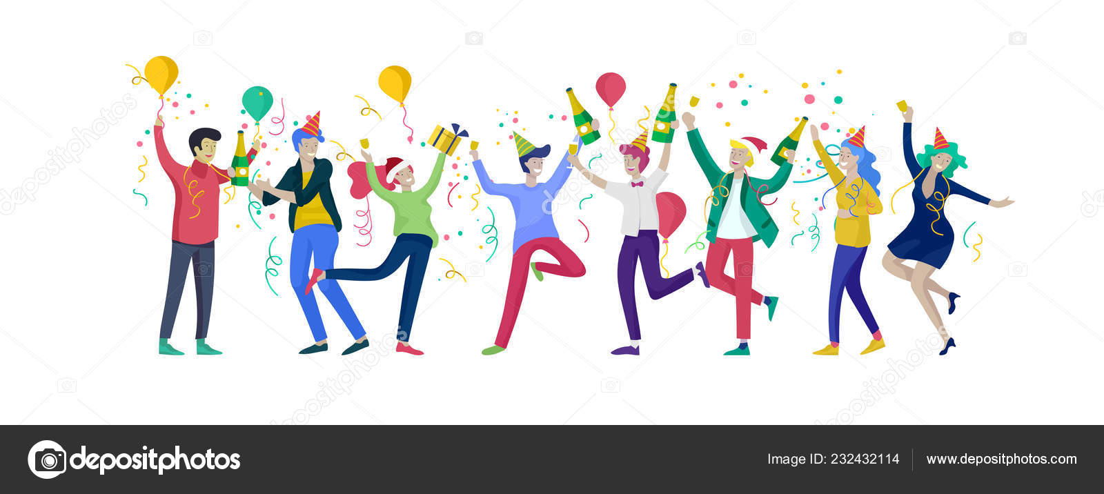 Christmas Party Images Cartoon.Happy Christmas Day Celebrating Together Happy Group Of