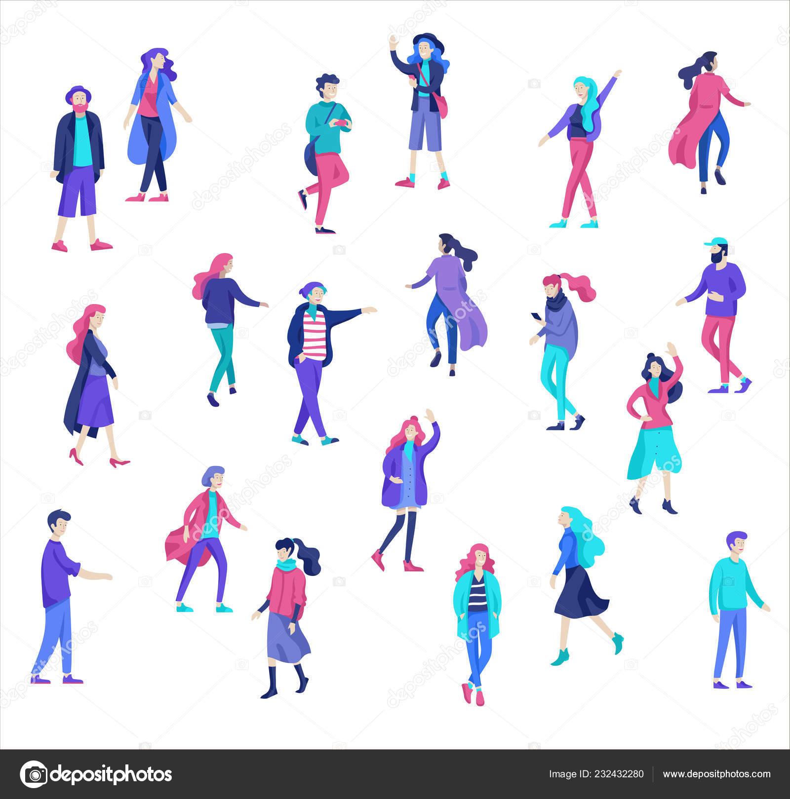 Carattere di vettore persone camminando per strada in autunno o inverno  vestiti 6109ff44571
