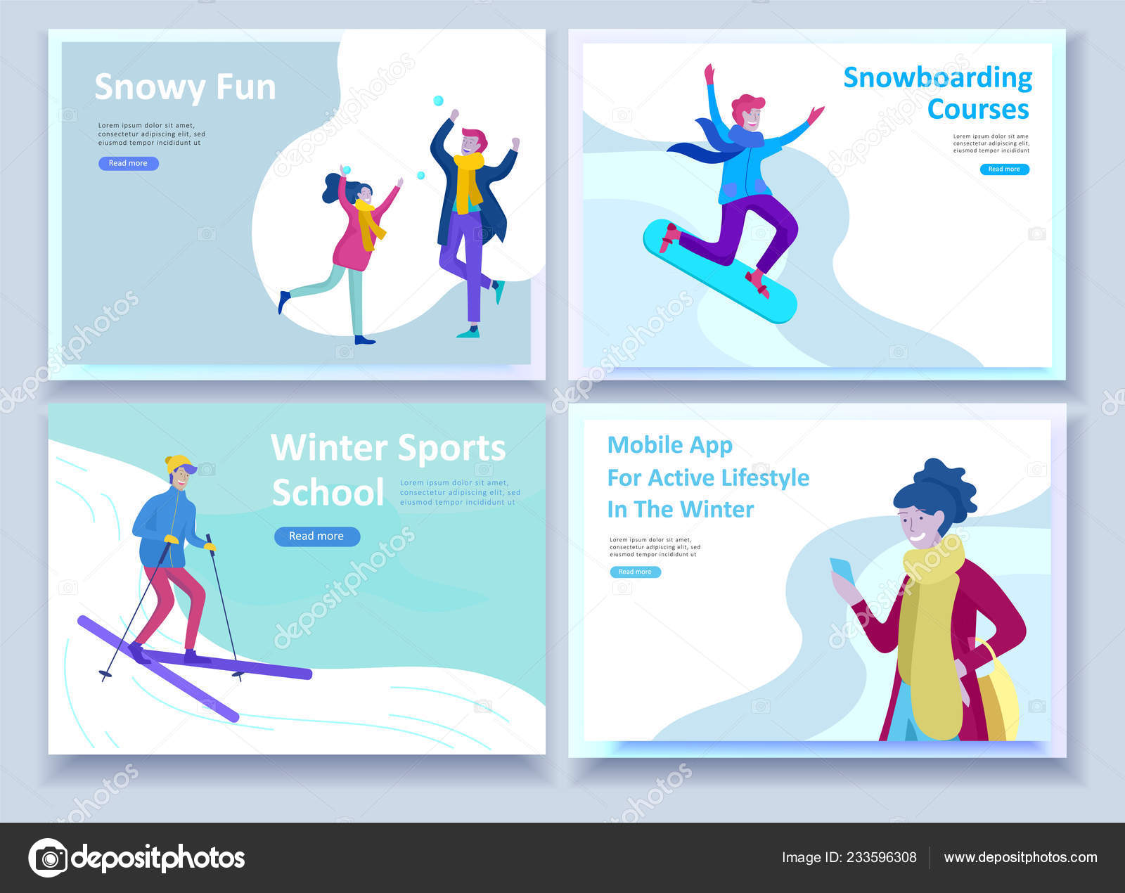 Set of Landing page templates  People dressed in winter
