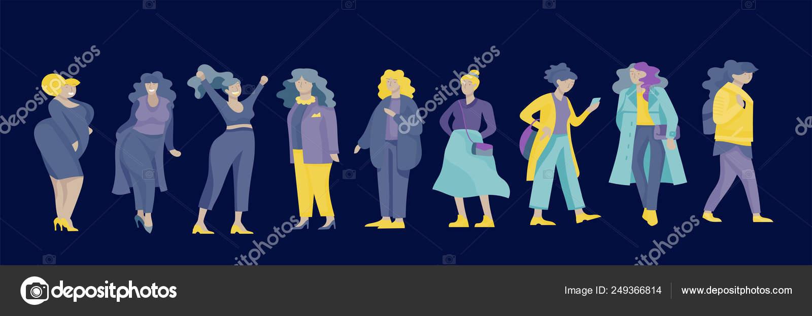 b033664d2 Plus tamaño mujeres vestidas con ropa elegante. Conjunto de curvas niñas  usando ropa de moda. Personajes de dibujos animados mujer feliz. Ilustración  de ...