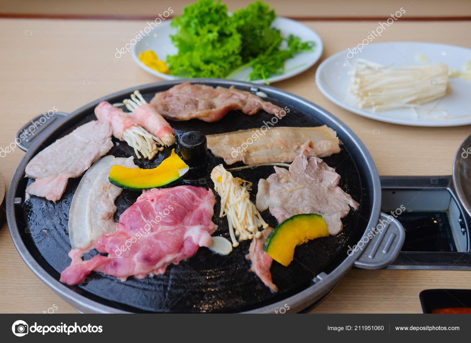 Korean Barbeque Grill Table Vegetable Set Stock Photo C Dontree