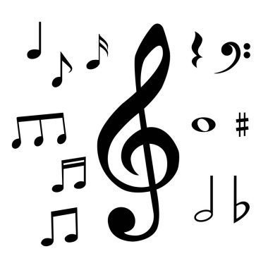 Set of musical notes and symbols. Isolated vector illustration.