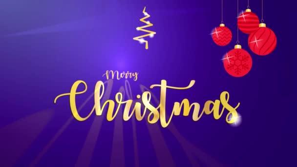 Veselé Vánoce  Šťastný Nový rok pozadí se zlatými částicemi. Vánoce 2d animované egreeting šablony pro sociální média. Vánoční pohybová grafická animace.