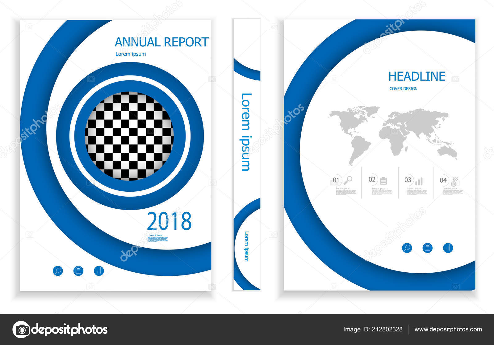 Illustration Modern Blue Circle Business Brochure Design