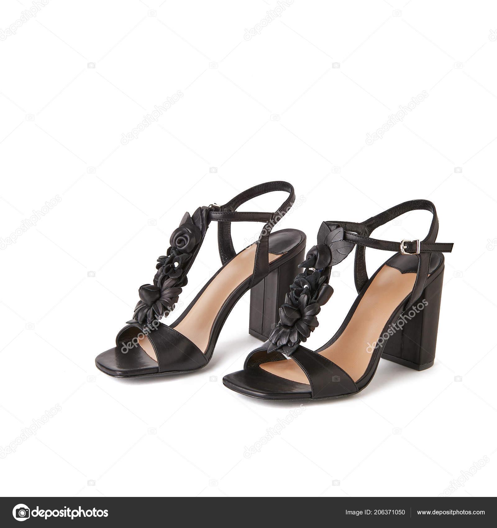 Black Block Heel Sandals Flowers Top Studio Shot White Background