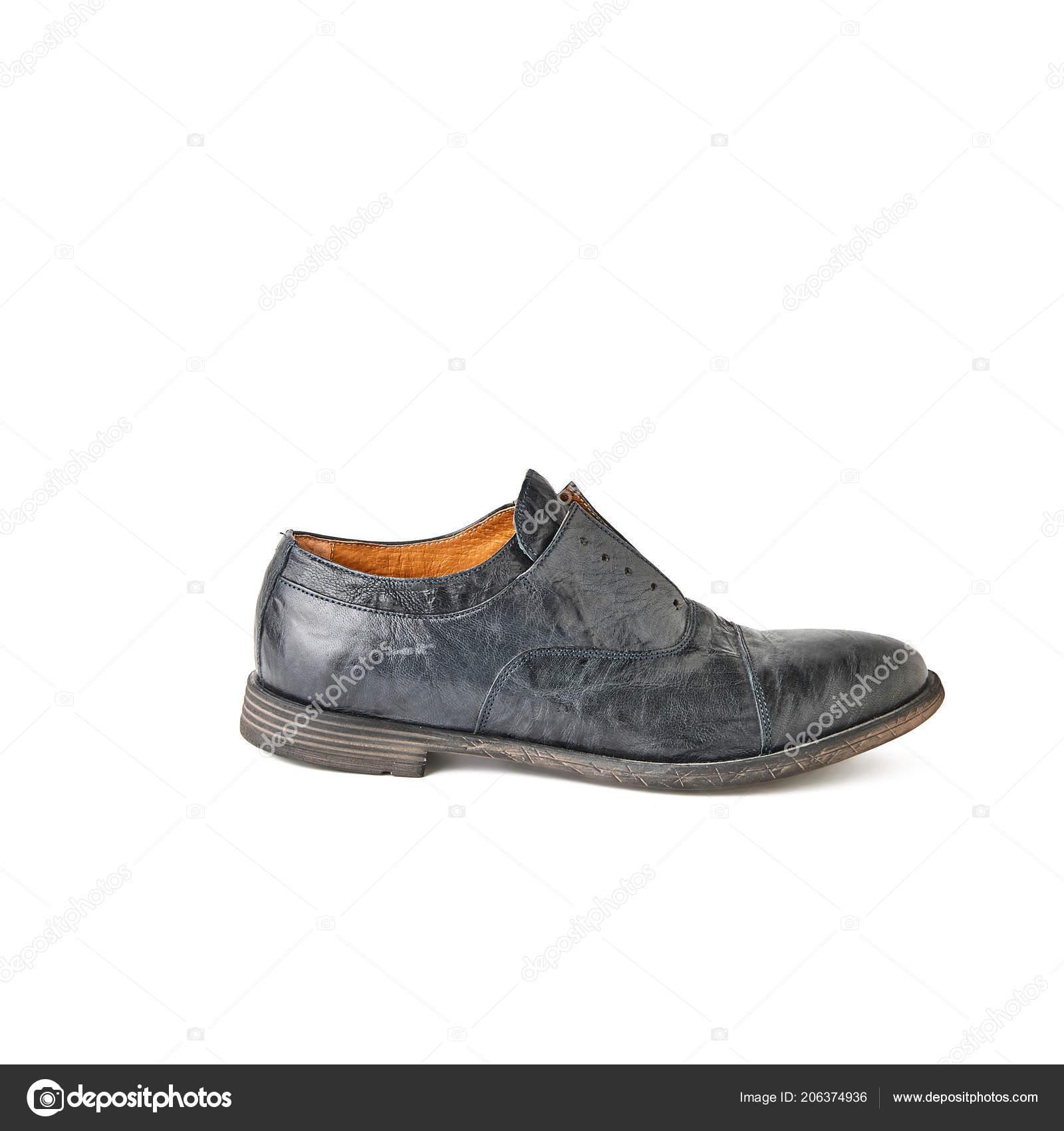 e5a68e8fed Elegante Negro Laceless Zapato Estudio Tiro Fondo Blanco — Fotos de Stock