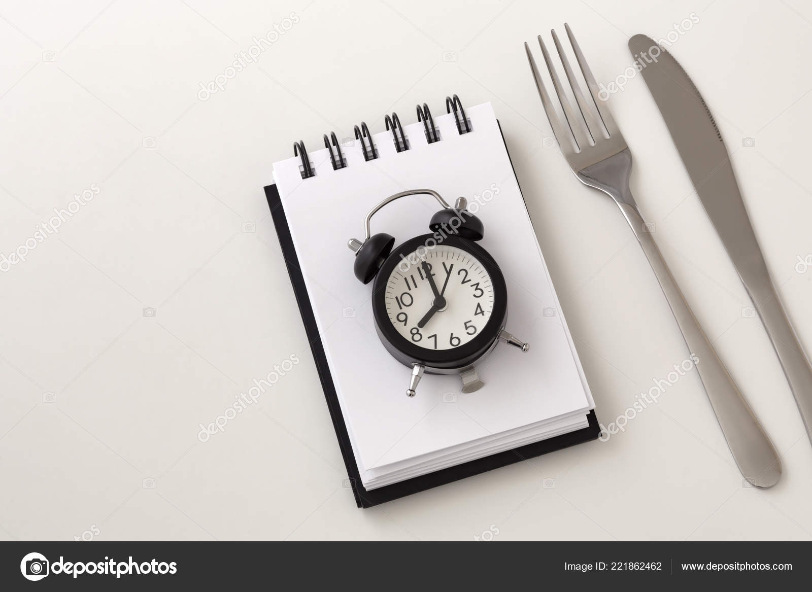 Clock Notepad Fork Knife Intermittent Fasting Weight Loss
