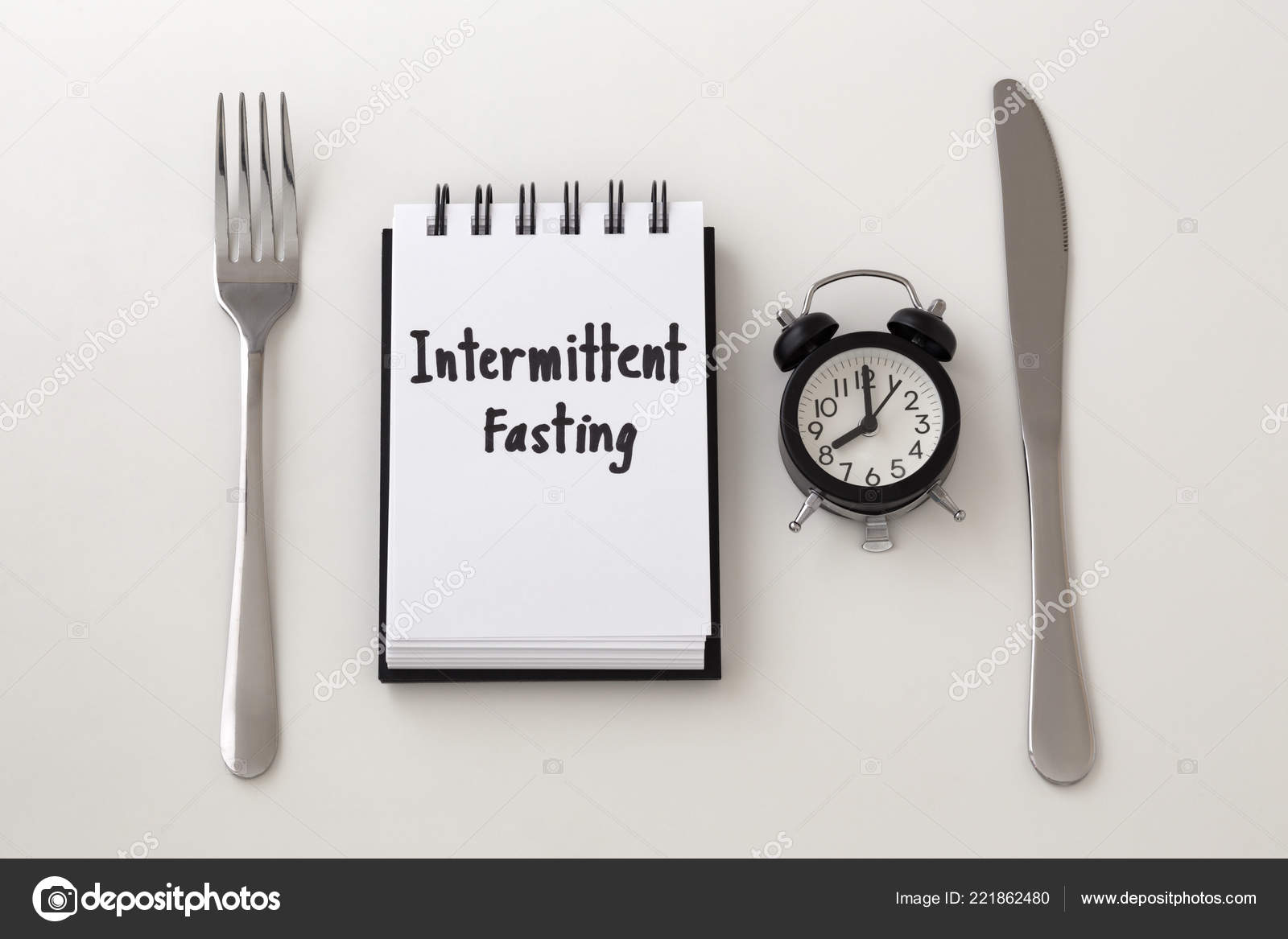 Intermittent Fasting Word Notepad Clock Fork Knife Weight