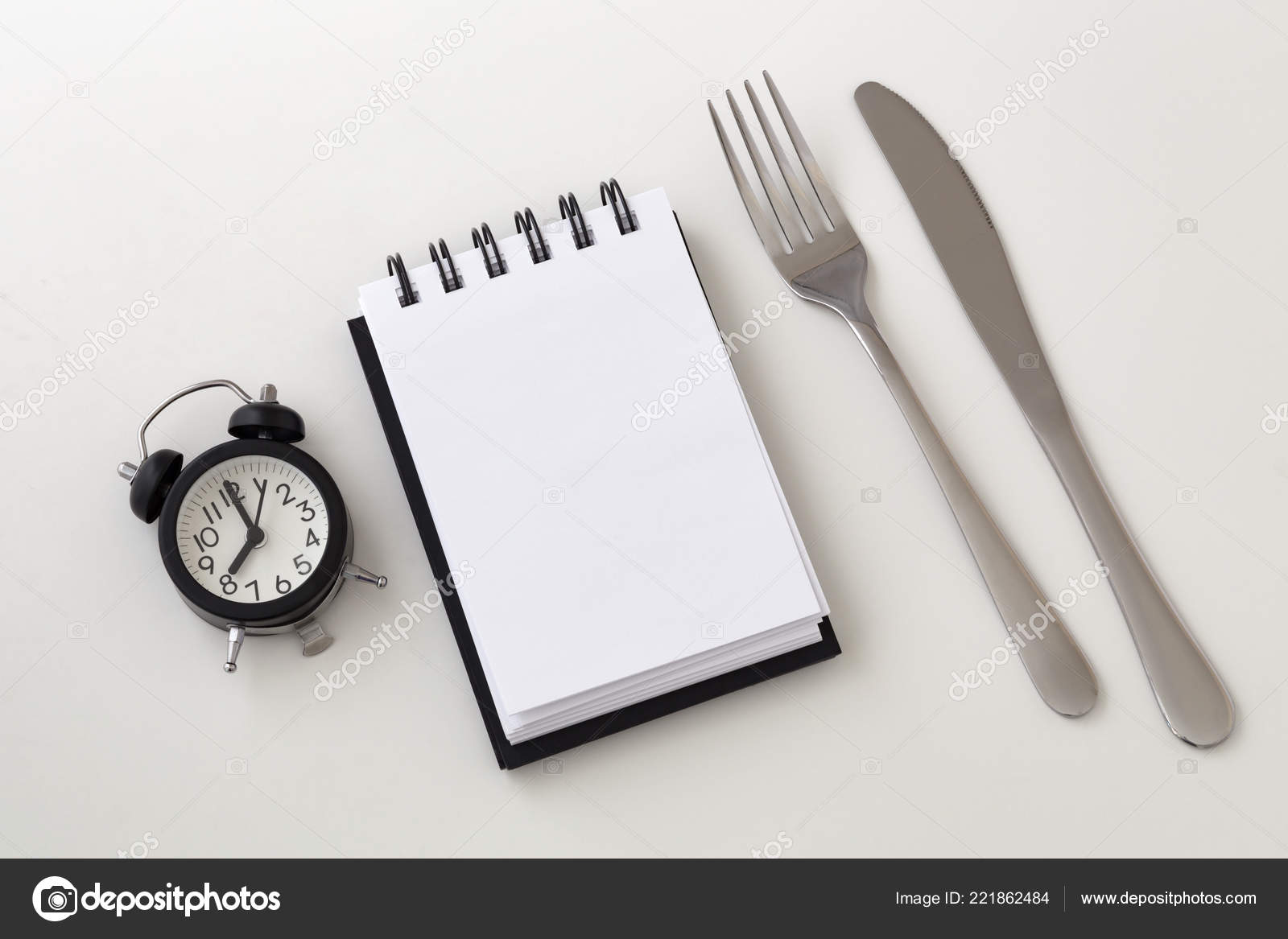 Clock Notepad Fork Knife Intermittent Fasting Weight Loss Plan
