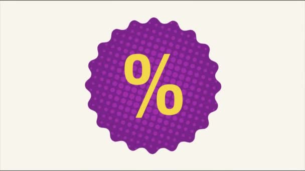 Animované sezónní prodejní zázemí s procentuální slevou. 3D