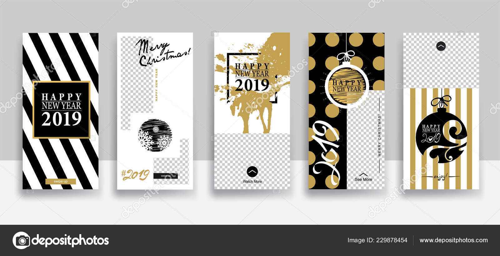 Set Merry Christmas Happy New Year Instagram Stories Template ...