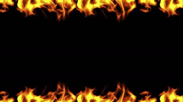 Koncepce ohnivého rámu na černém pozadí. Ilustrace.