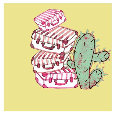 watercolor illustration suitcases and cactus on a sunny background,travel and vacation,doodle