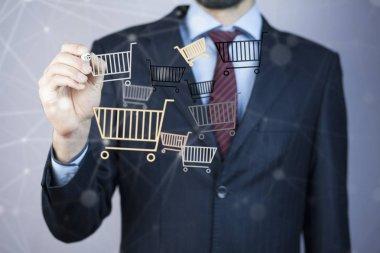 Businessman drawing carts  symbols, close up stock vector