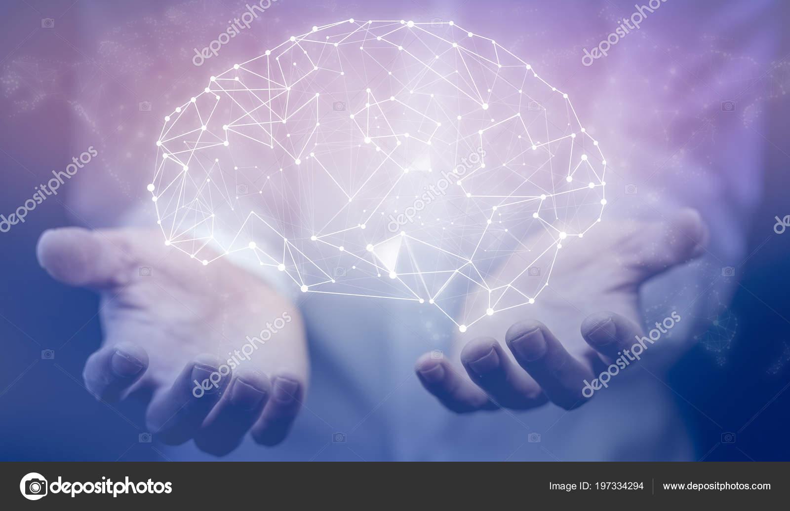 Hombre Negocios Con Estructura Cerebro Abstracto Marco Alambre ...