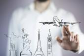 Üzletember megható airplane utazás a világ minden tájáról