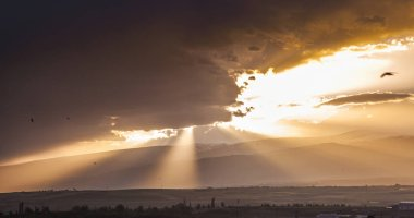 sky sunset and rays. nature, travel