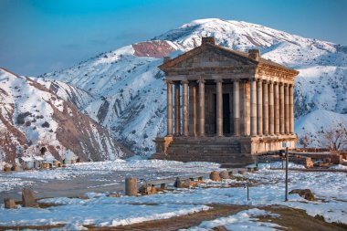 Beautiful Garni temple in Armenia, in winter.