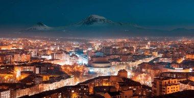 Night in Yerevan, Armenia from Cascade, Ararat mountain at the background