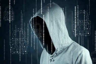 hacker isloated on black with binary codes on background