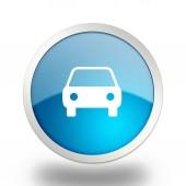 autó kék kör web fényes ikon